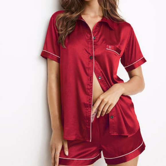 Victoria s Secret Satin Boxer Pajama Short Set 0d9486227